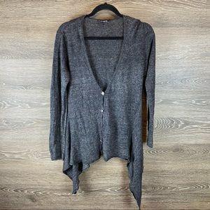 Eileen Fisher Asymmetrical Grey Linen Cardigan